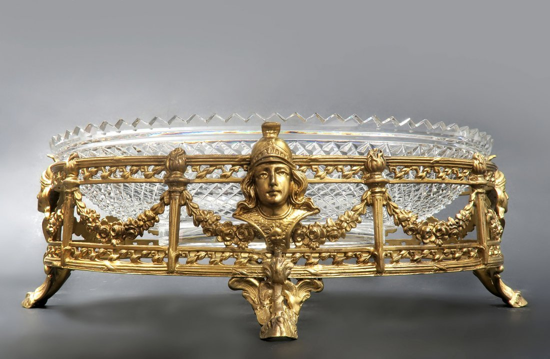 French Figural Bronze & Baccarat Crystal Centerpiece