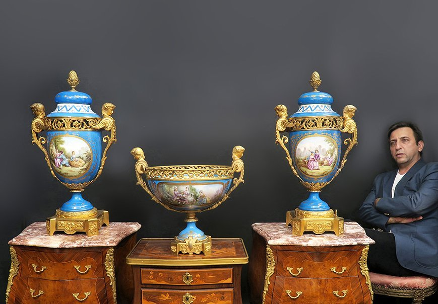 19th C. Large French Sevres Garniture Set