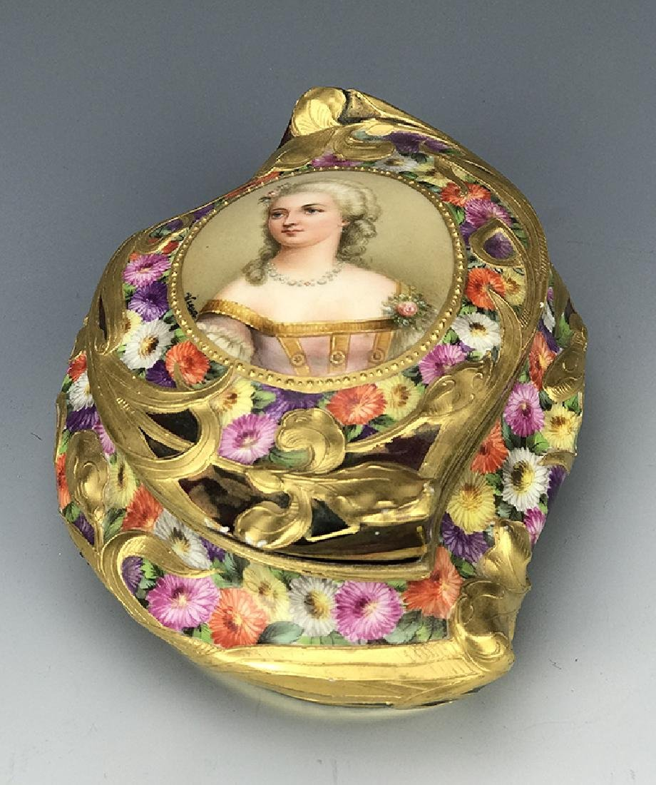 Royal Vienna Hand Painted Jewelry Box, 19th C.