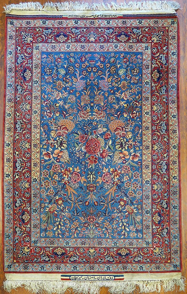 "Isfahan Silk Warp Authentic ""Seirafian"" Persian Rug"