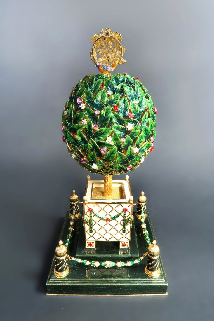Large Russian Tree Faberge Musical Egg