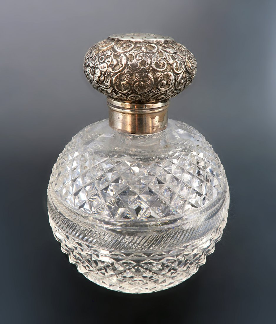 """Gorham"" Cut Glass Sterling Silver Perfume Bottle"