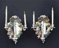 19th C. Pair of Figural Dresden Mirror Sconces