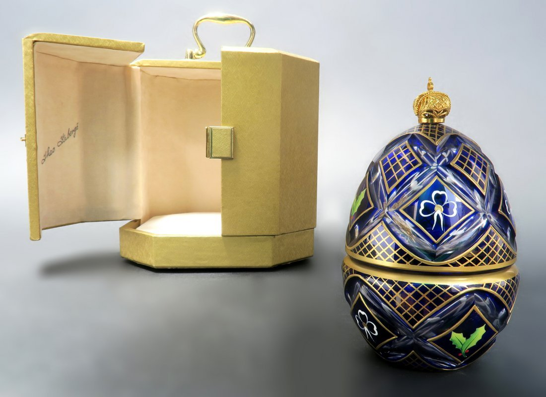 """Theo Faberge"" Silver & Crystal Music Box Winter Egg"