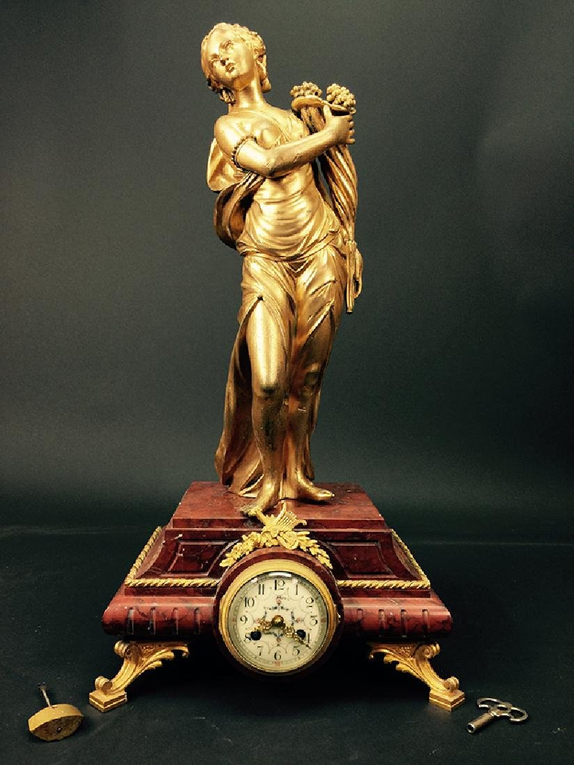19TH CENTURY GILT BRONZE SCULPTURE ON MARBLE CLOCK