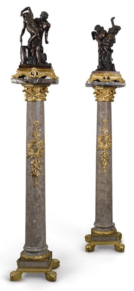 Pair of Bronze Raptus Groups&Louis XVI style pedestals
