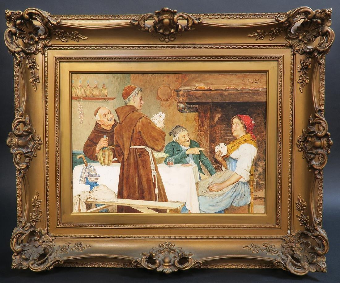 """S. Da Coota"" 19th C. Painting on Board"