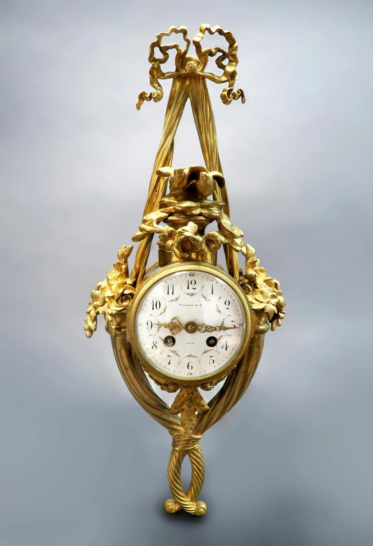 Tiffany & Co French Bronze Cartel Clock, 19th C.