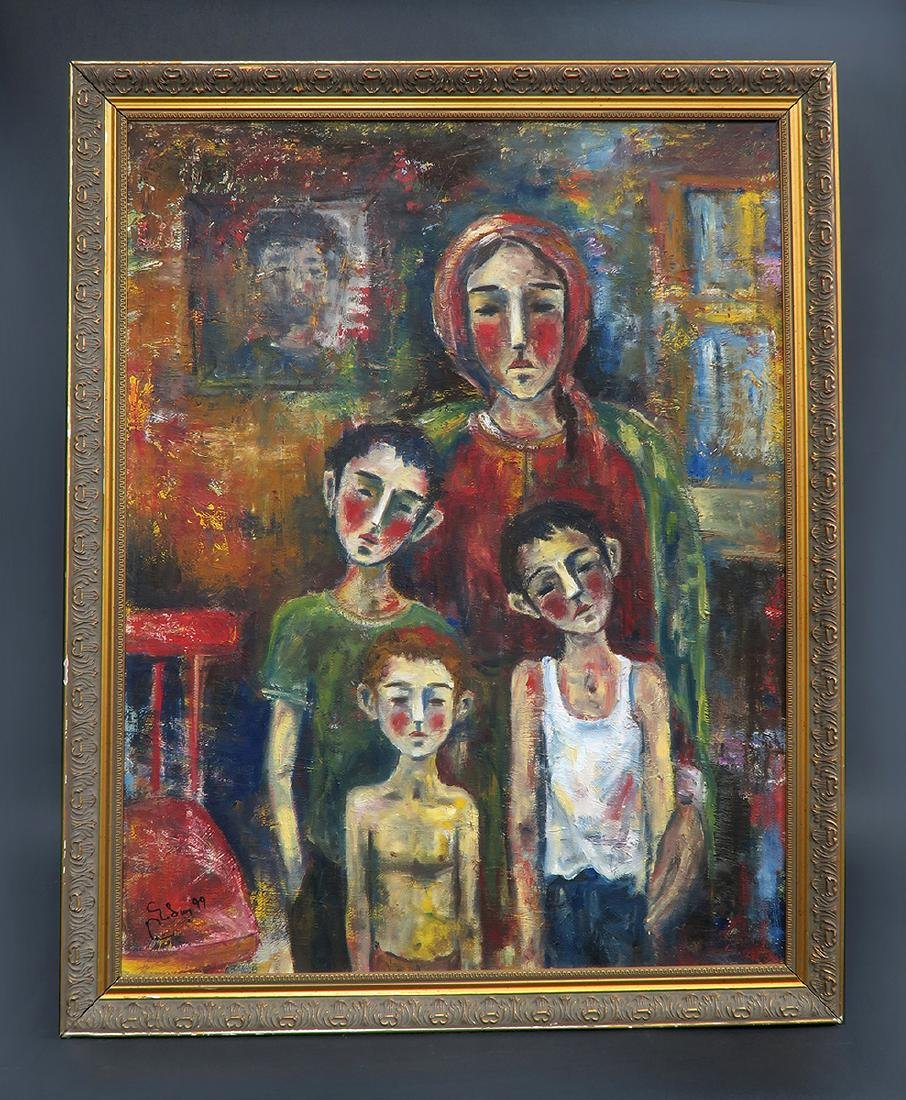 """Large Oil on Canvas Painting """"The Widow"""""""