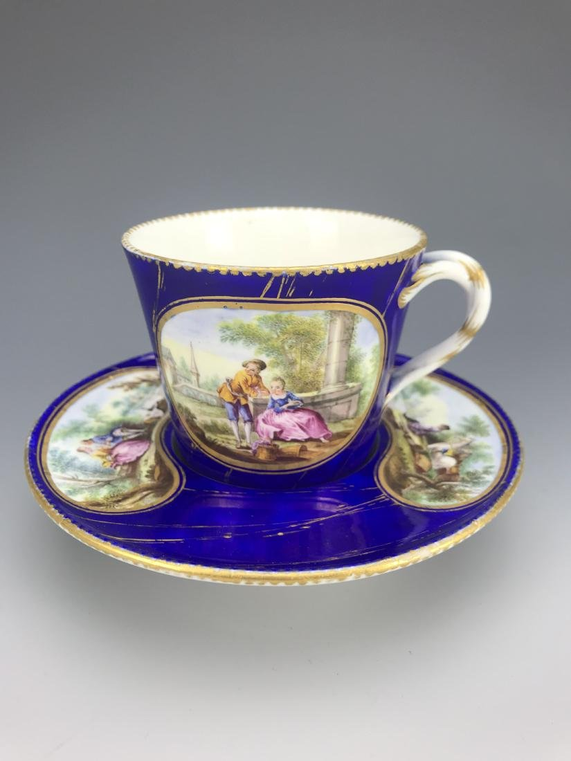 18th C. French Porcelain Sevres Cup & Saucer