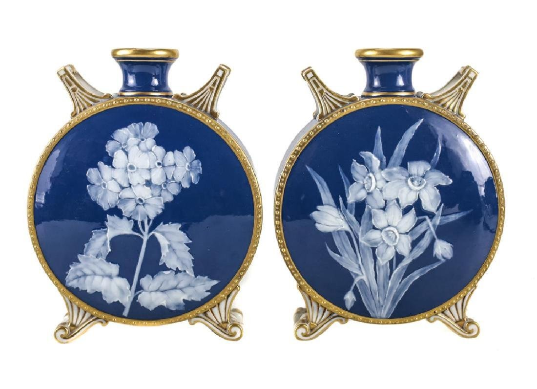 Pair Grainger Worcester Pate Sur Pate Moon Flasks