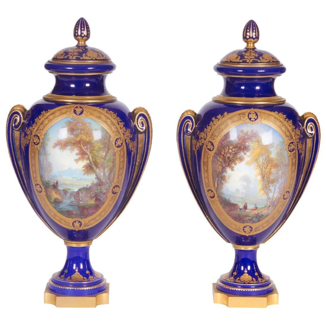Pair of Napoleon III Sevres Cobalt Blue Vases on Ormolu