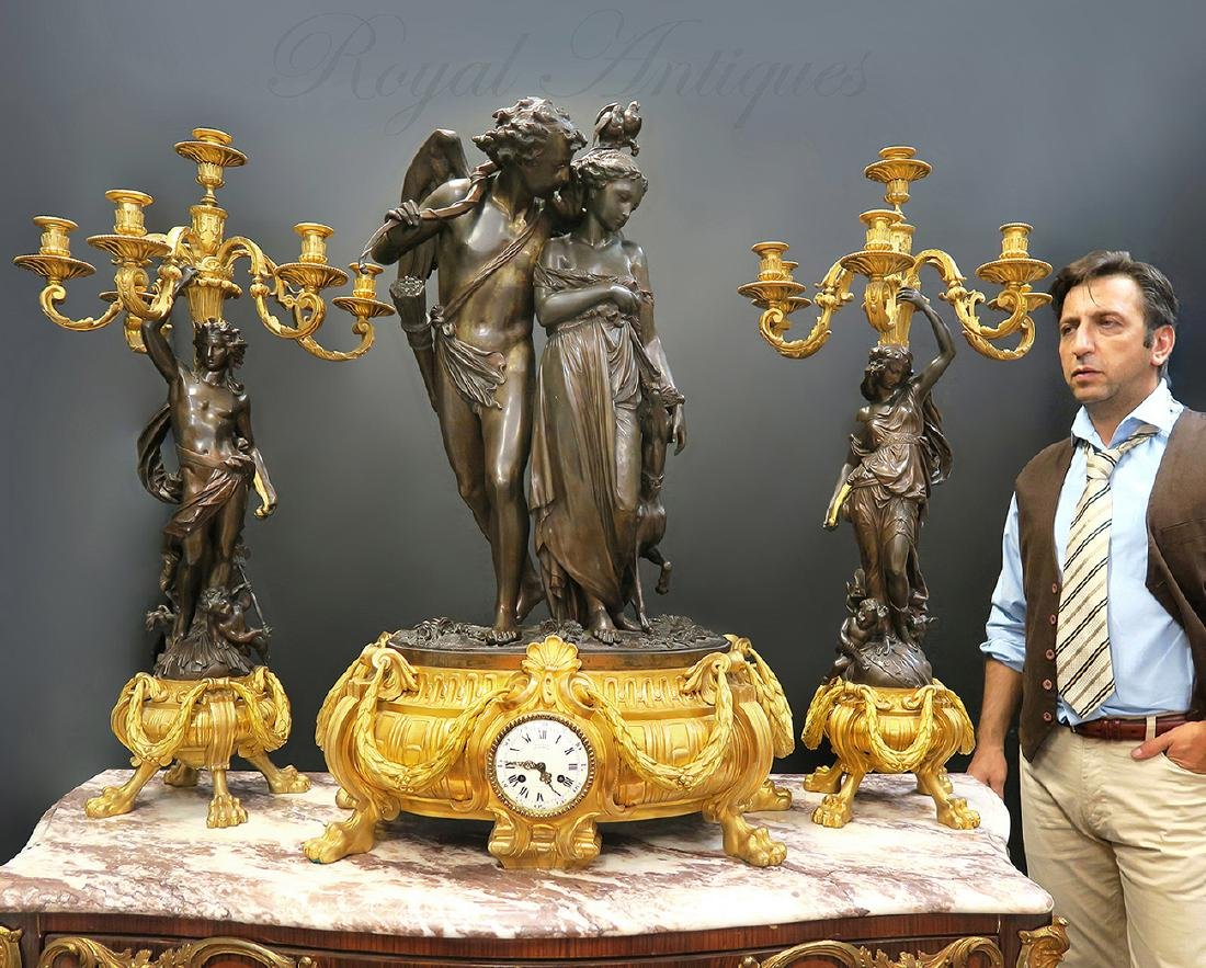 Monumental French Figural Bronze Clock Set