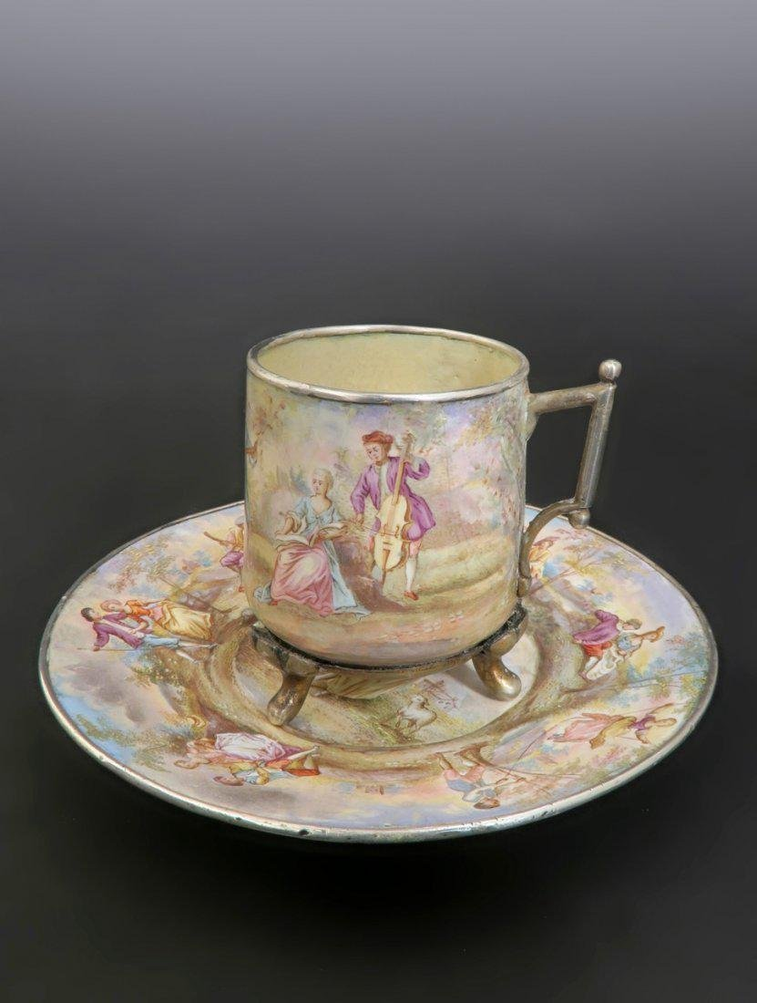 19th C. Viennese Enamel on Silver Cup & Saucer