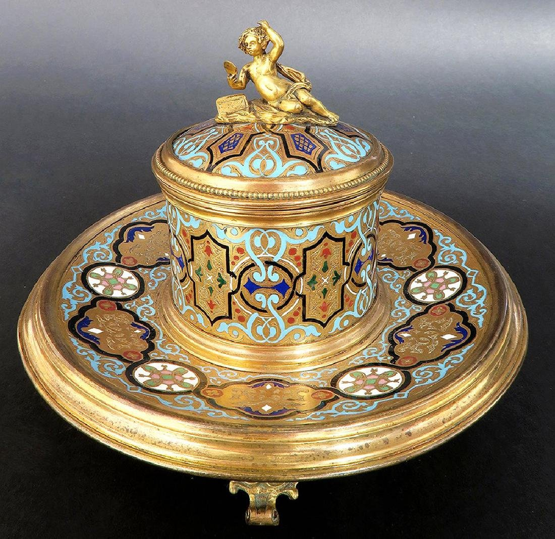 French Bronze & Champleve Enamel Figural Inkwell. 19th