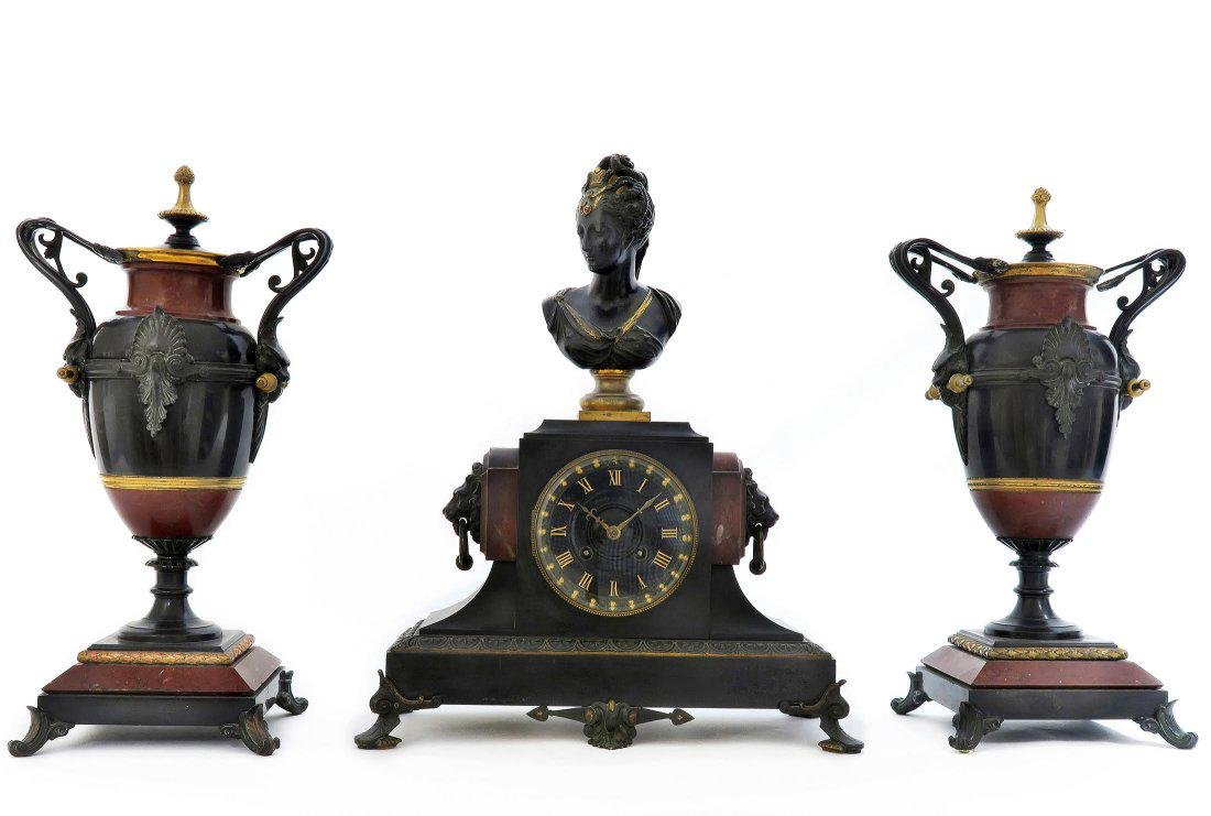 19th C french Victorian Marble & Bronze Clock Set