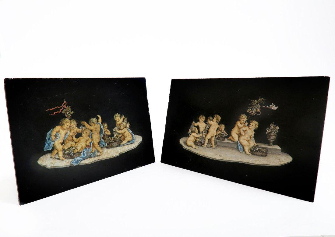 Pair Of 19th C French hand-painted Marble plaque