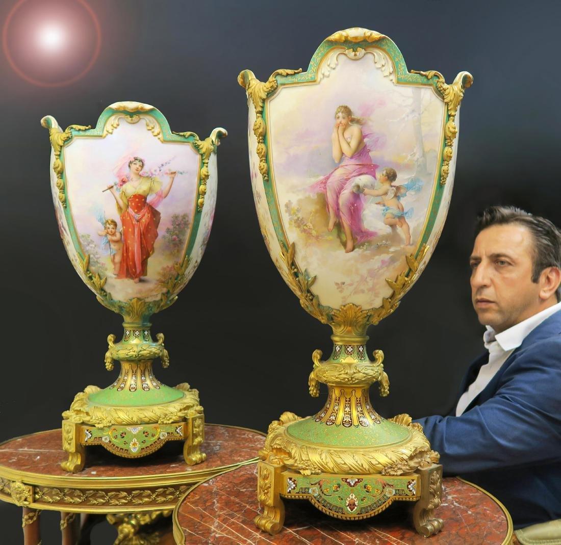 Monumental Sevres Bronze & Champleve Enamel Vases