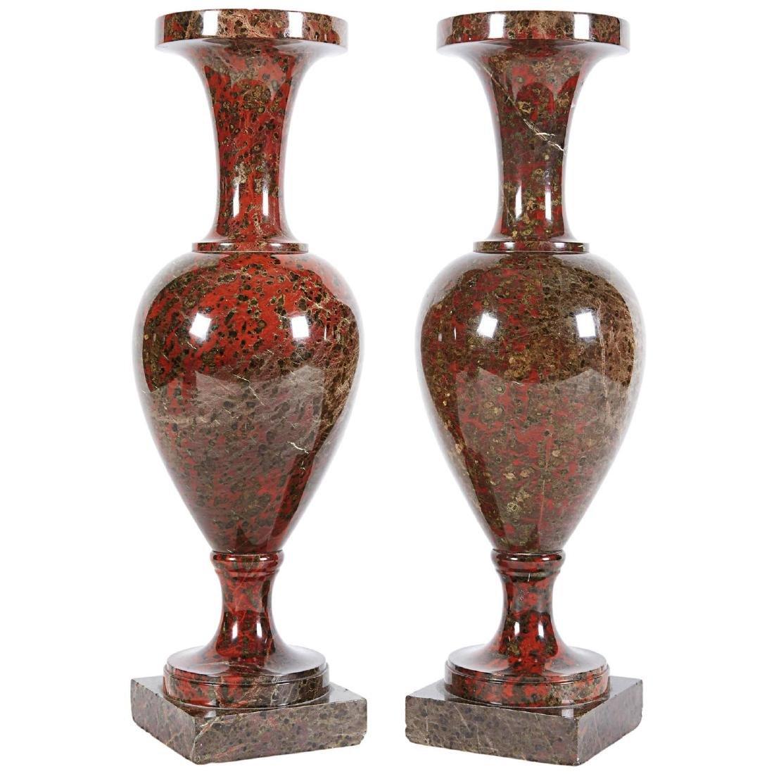 19th C. A Pair Of Neoclassical Jasper Vases