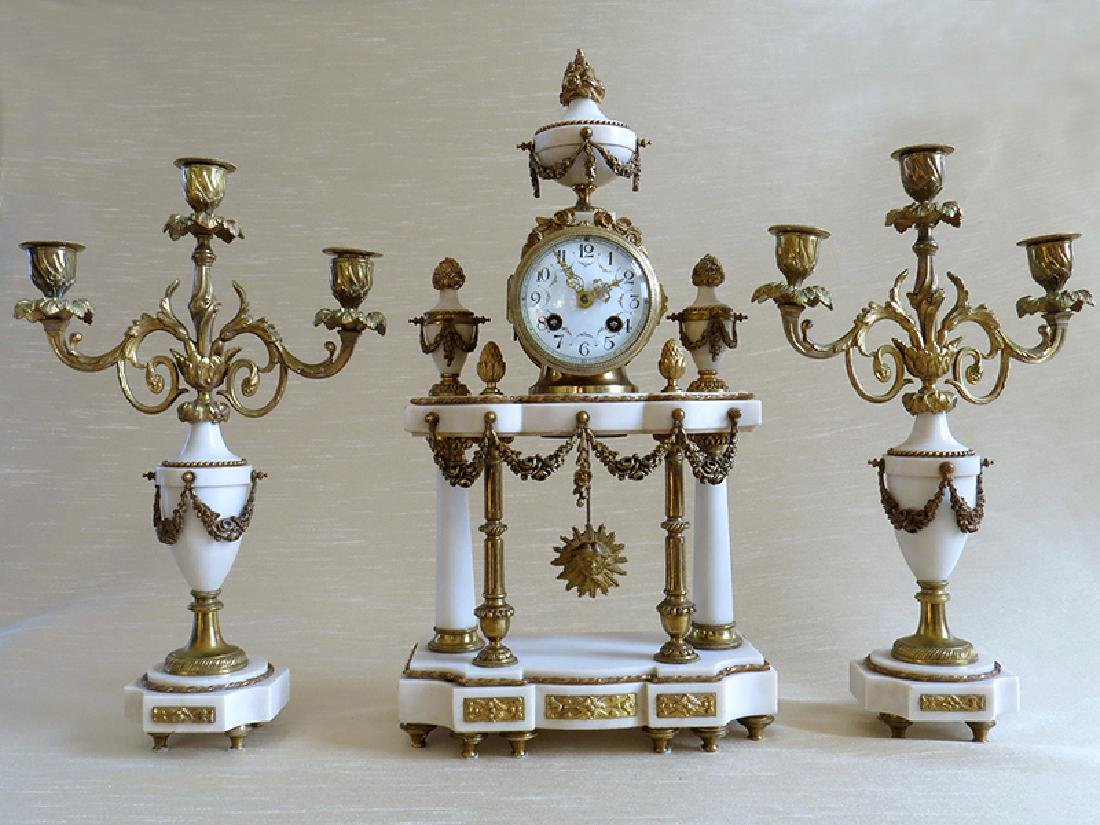 1870 Antique French Bronze & Marble 3pcs clock set