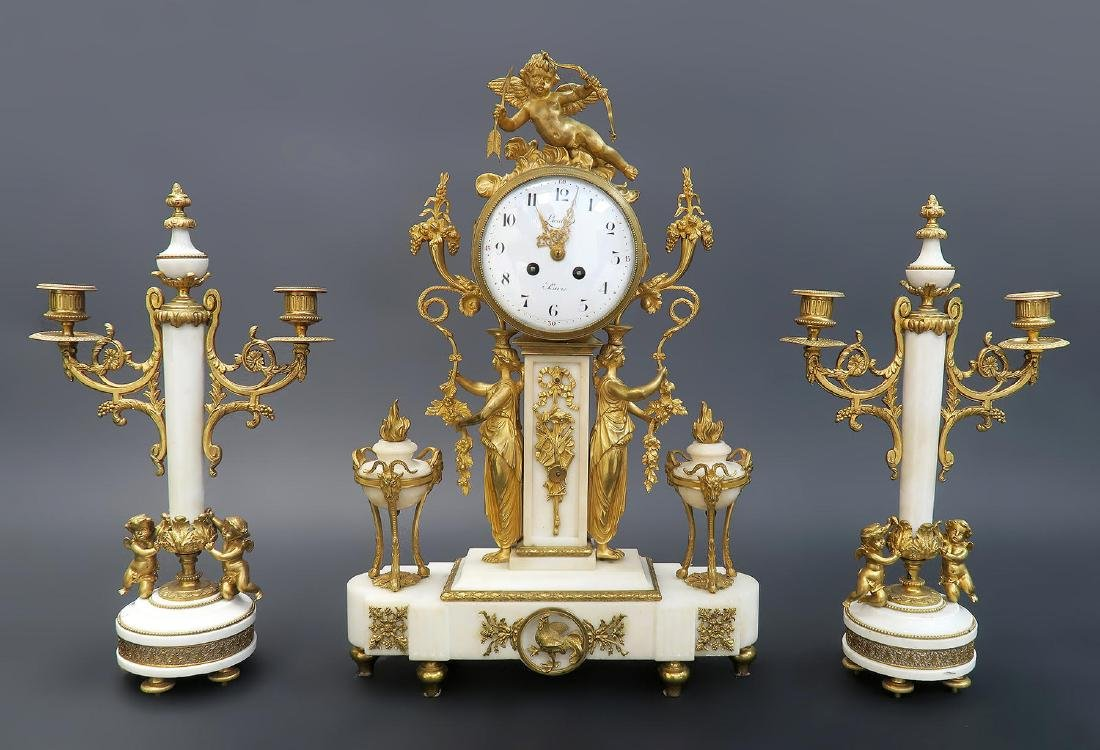 French Napoleon III ormolu mounted marble clock set