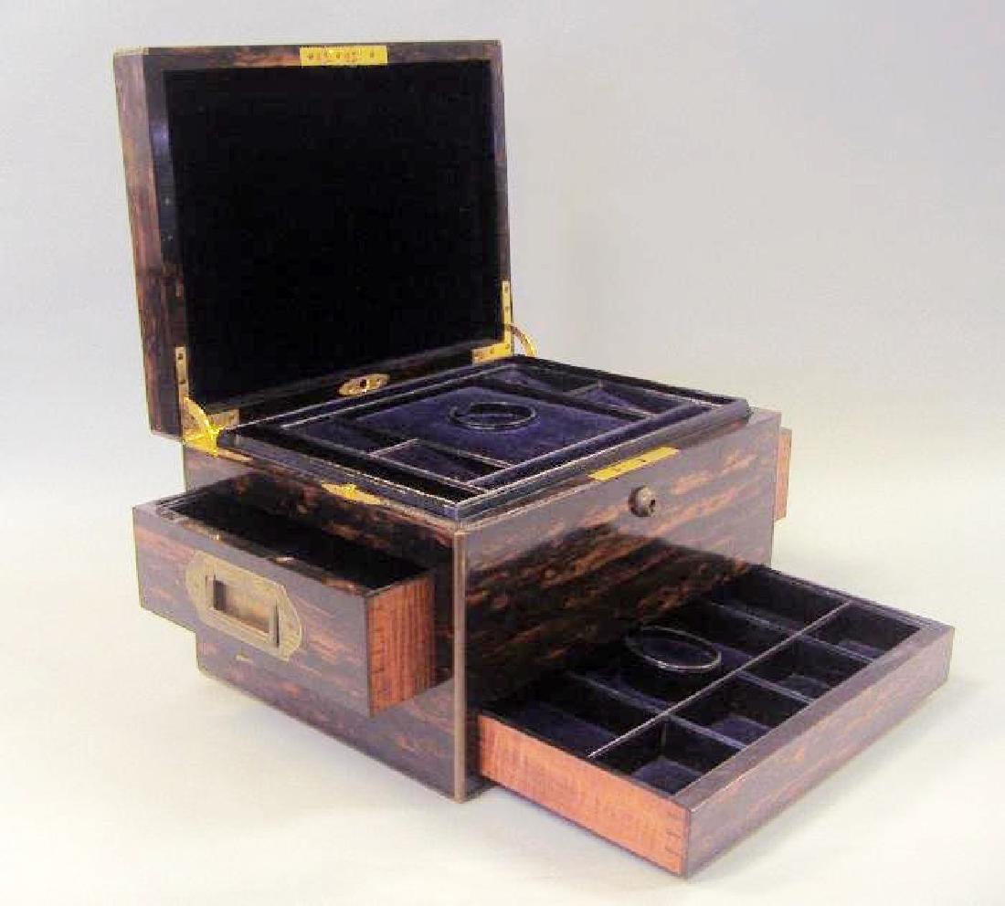 Macassar ebony wood jewelry box, velvet fitted interior