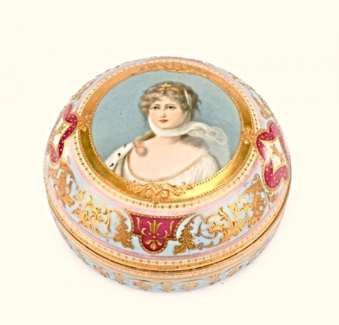 Royal Vienna Style Porcelain Portrait Dresser Box