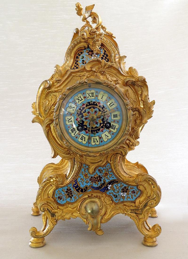 Elegant Champleve Enamel and Gilt Bronze Rococo Clock