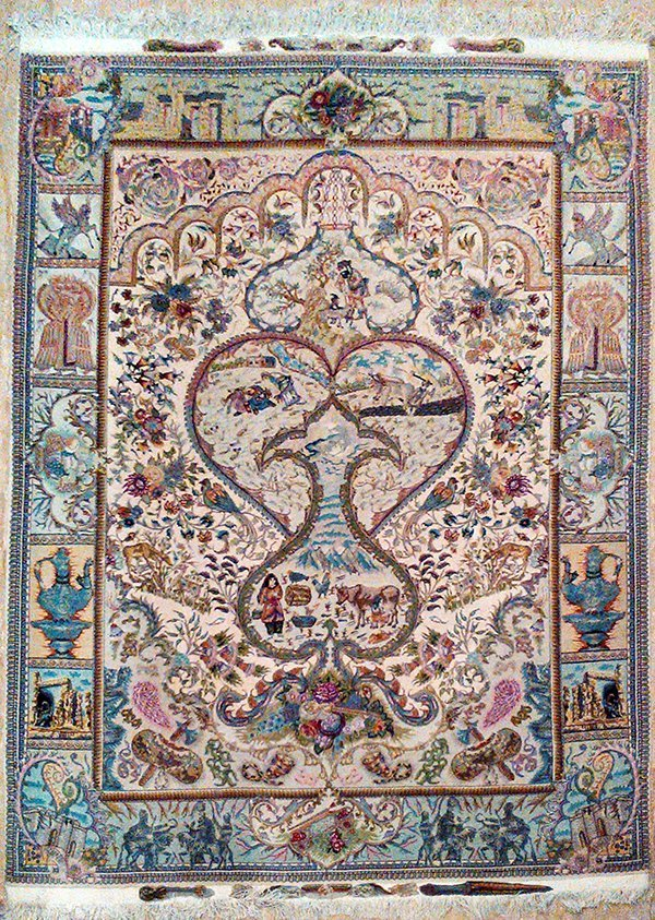 Very Fine Pictorial Persian Rug from Tabriz
