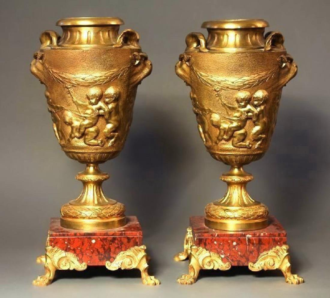 Pair of French 19th C. Bronze & Rouge Marble Vases