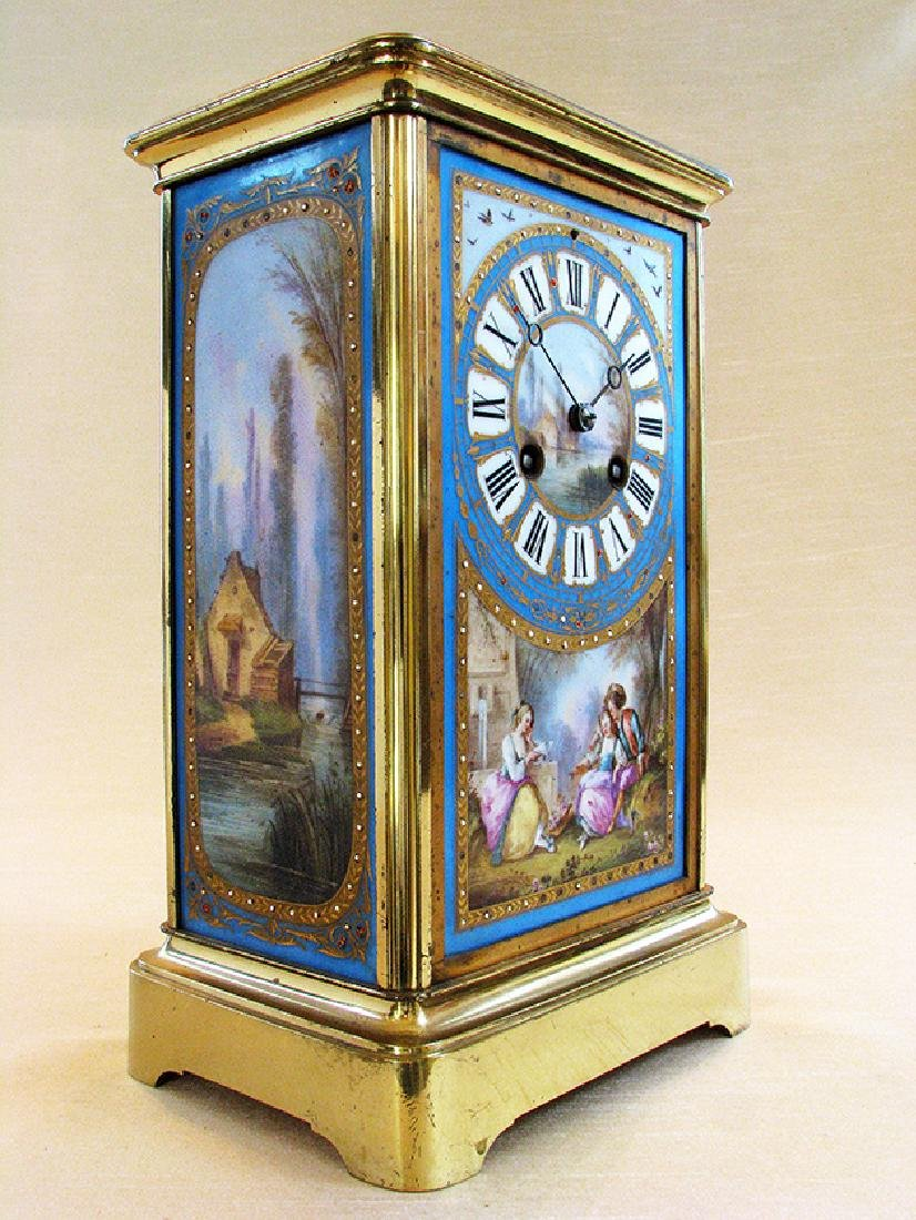 19th C. Brass and Sevres hand painted Porcelain clock