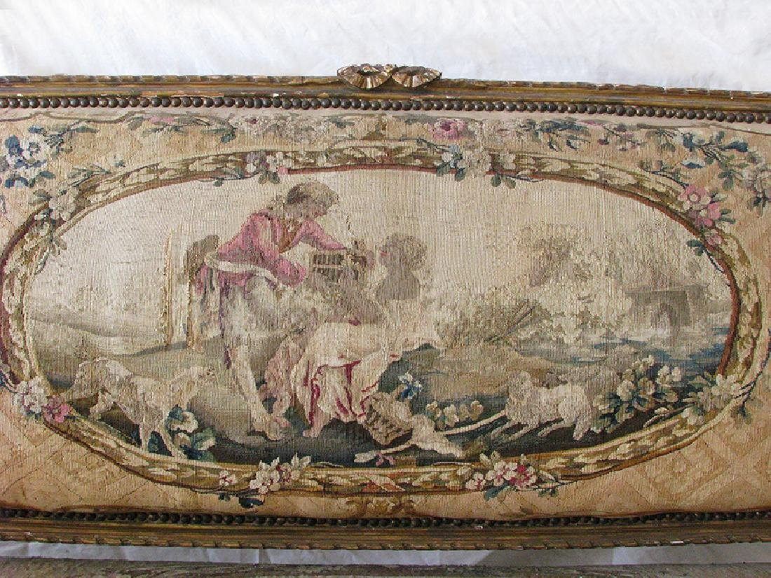 Antique French Louis XVI Gilt wood and Tapestry Settee - 2