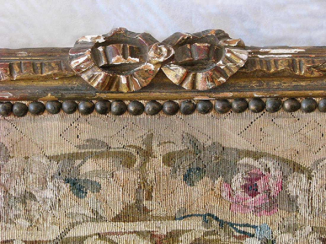 Antique French Louis XVI Gilt wood and Tapestry Settee - 5
