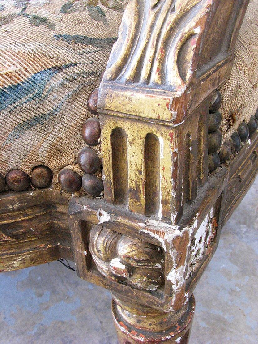 Antique French Louis XVI Gilt wood and Tapestry Settee - 6