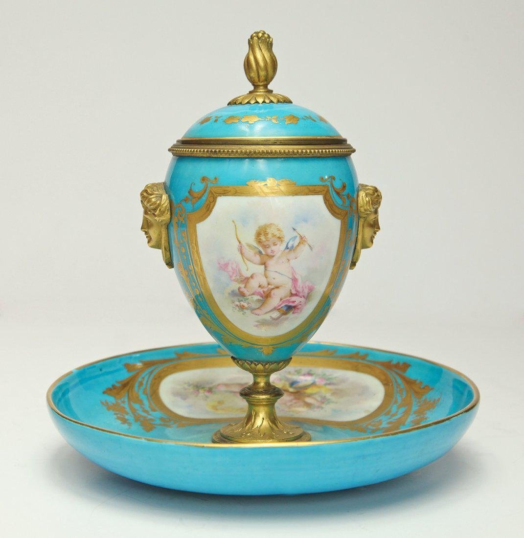 19th C. French Sevres Porcelain & Bronze Urn