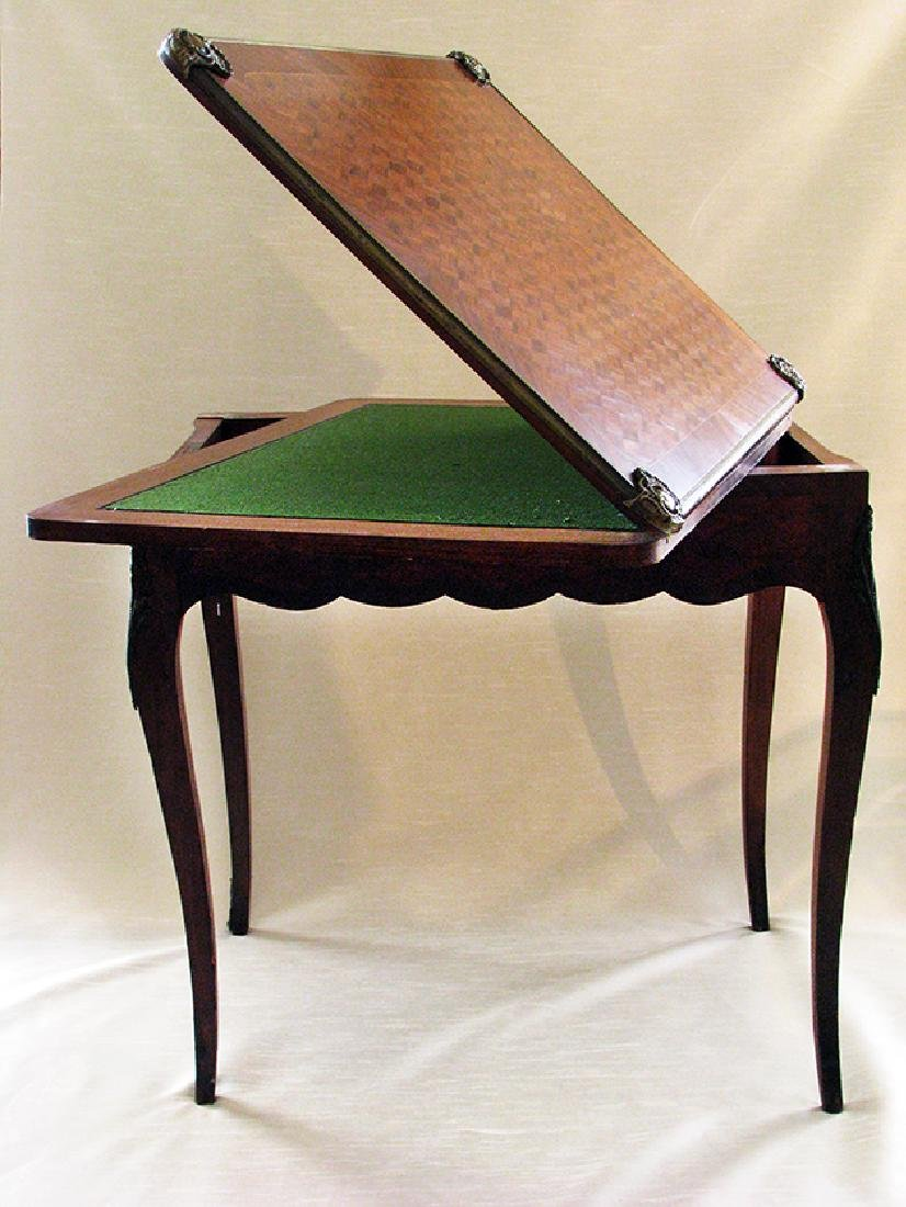 French Parquetry Flip top Game Table with Bronze Mounts