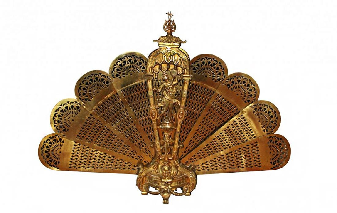 Antique French Folding Fire Screen