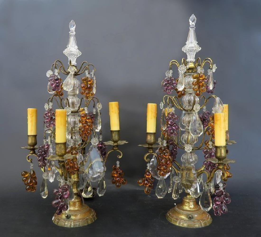 Fine Pair of Baccarat Crystal & Bronze Girandole