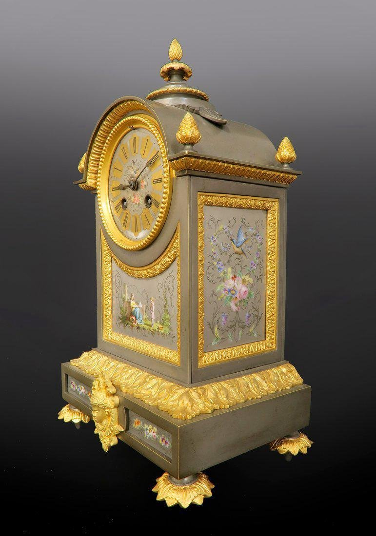 Ormolu Mounted French Porcelain Platinum Ground Clock