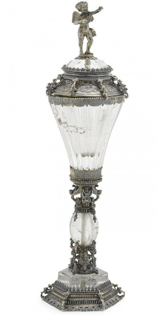 German Silver Gilt & Rock Crystal Covered Cup