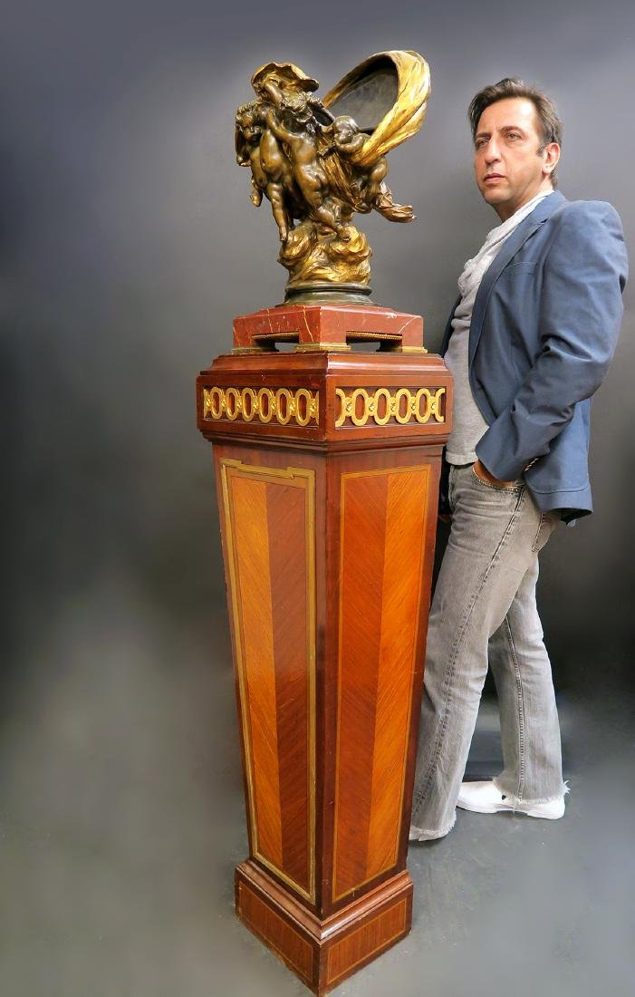 French Signed Figural Bronze Jardiniere & Pedestal