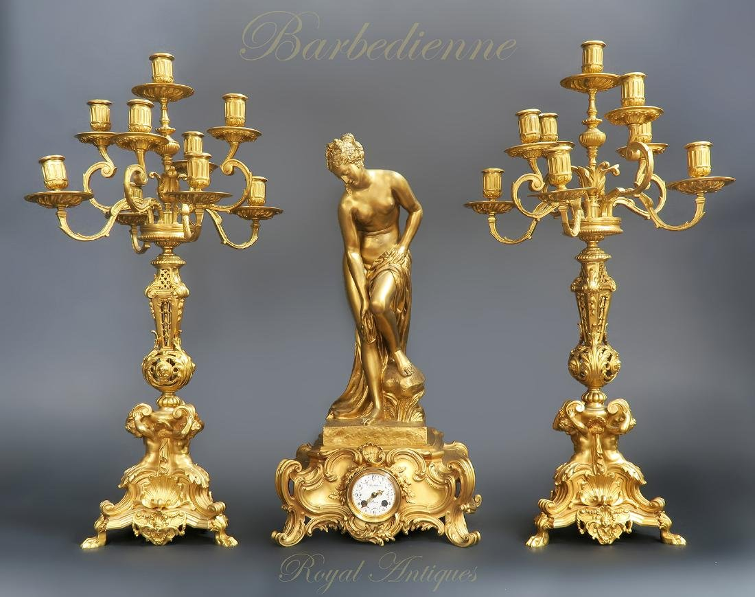 "French ""F. Barbedienne"" Figural Bronze Clock Set"