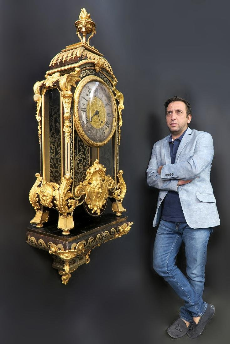 Monumental French Figural Bronze Boulle Clock