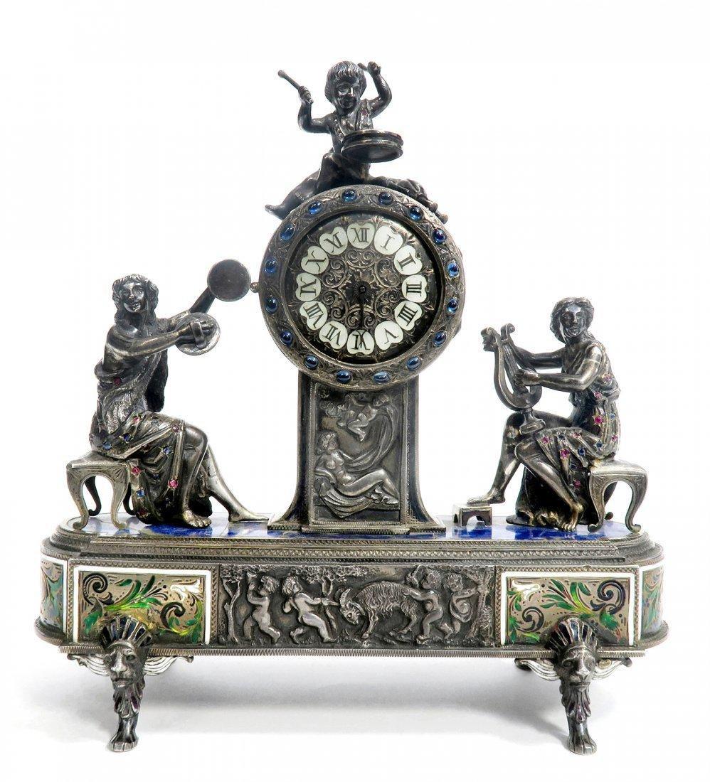 Viennese/Austrian Enamel on Silver Figural Clock