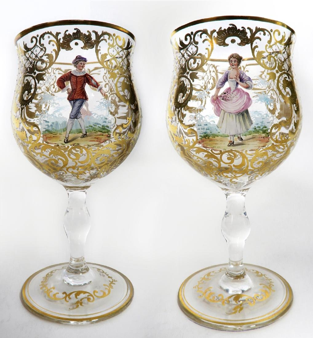 """A Pair of 19th C. """"Lobmeyr"""" Red Wine Glasses"""
