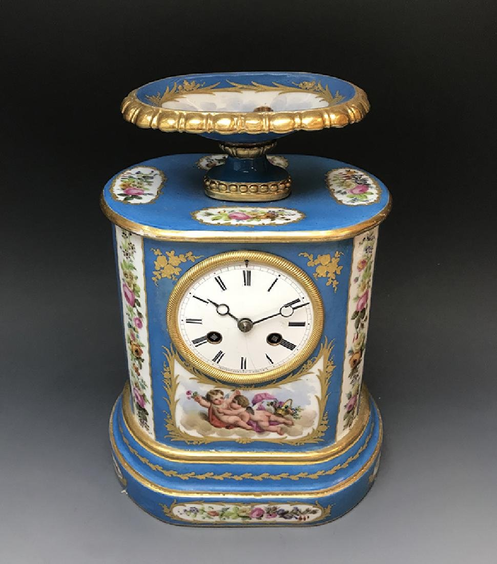 "French Sevres Porcelain & Bronze Clock Signed ""Raingo"""