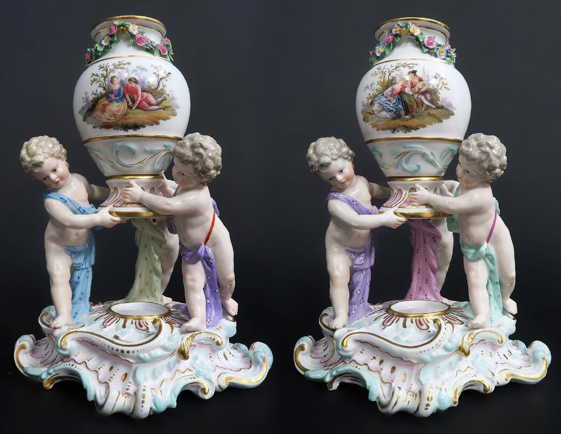 """19th C. Pair of """"Meissen"""" Porcelain Pot-Pourri Vases"""