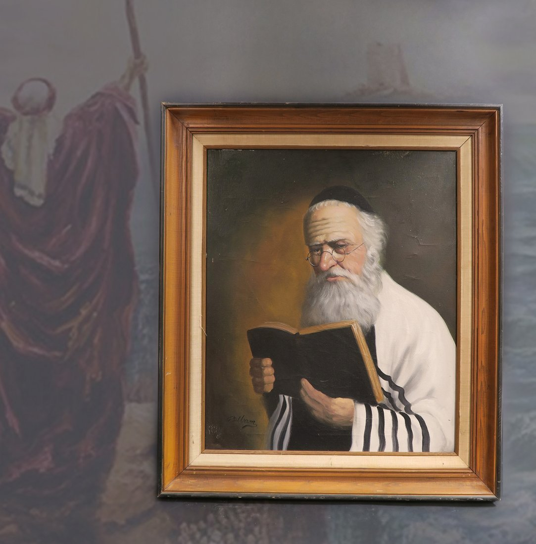 Fine Oil Painting of a Rabbi. Signed!