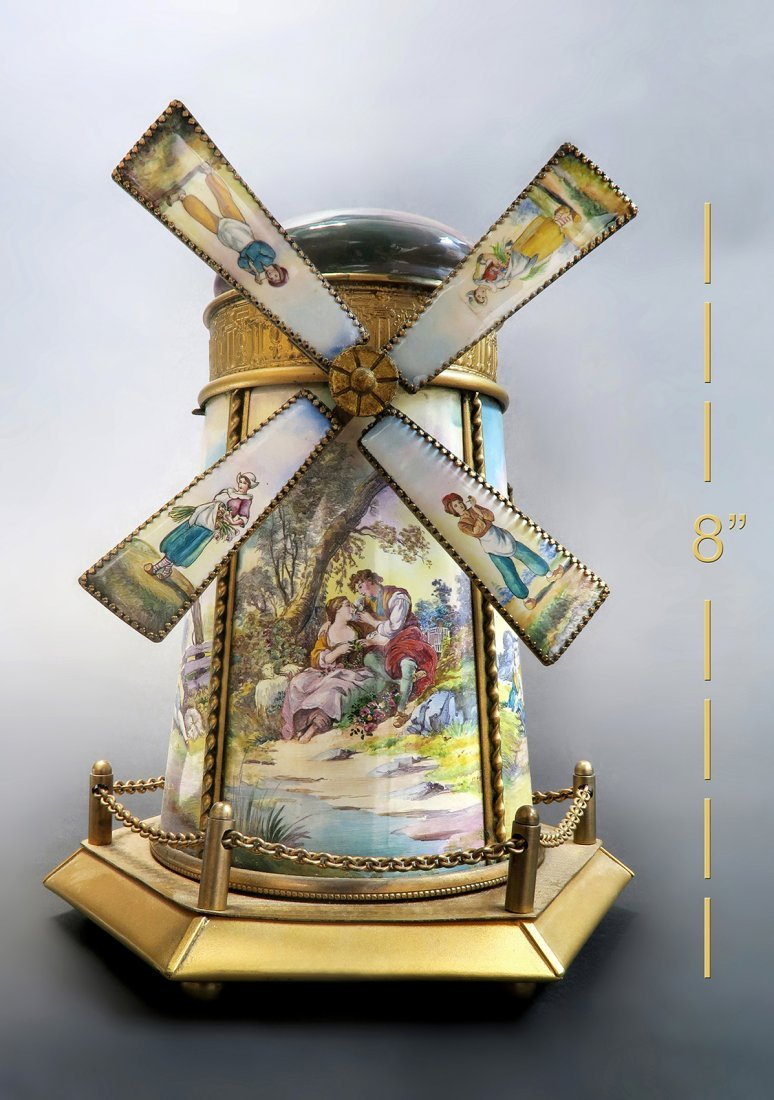 Large Austrian/Viennese Enamel Windmill Music Box
