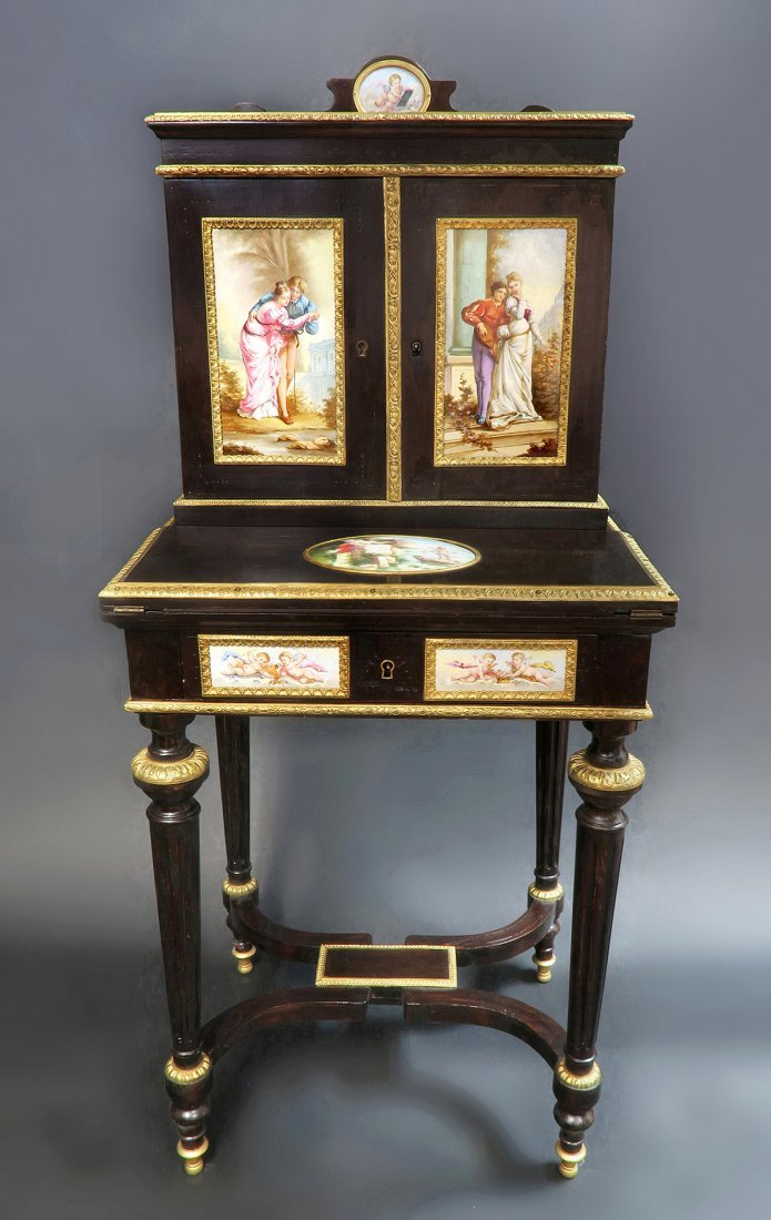 19th C. Meissen Style Plaque mounted Ladies Desk